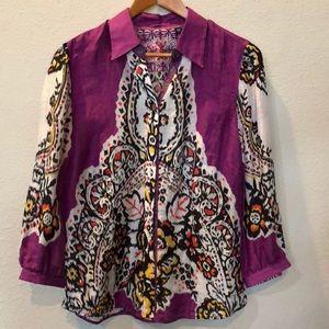 Robert Graham purple button down blouse